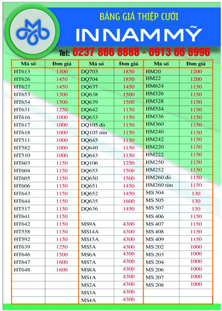 Bảng báo giá đặt in mẫu thiệp 2017 - 2018